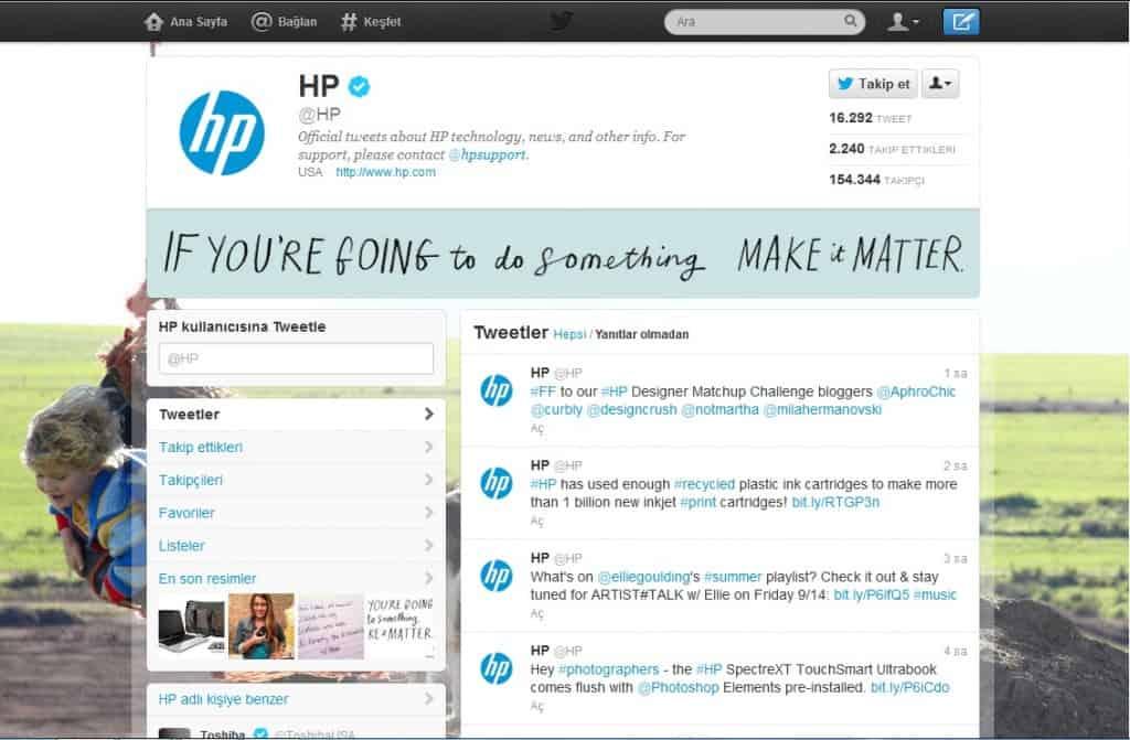 HP Gelişmiş Twitter Profili