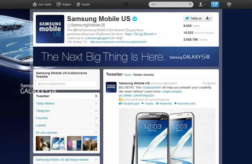 Samsung Mobile Us Gelişmiş Twitter Profili