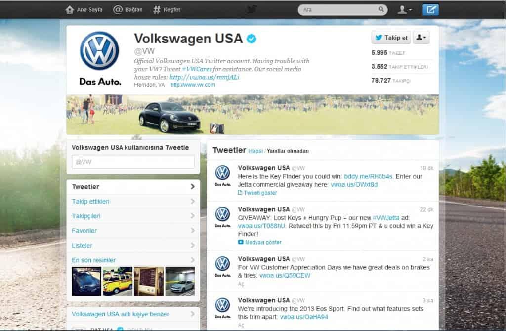 Volkswagen USA Gelişmiş Twitter Profili