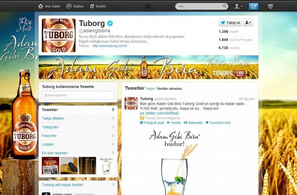 Tuborg Gelişmiş Twitter Profili